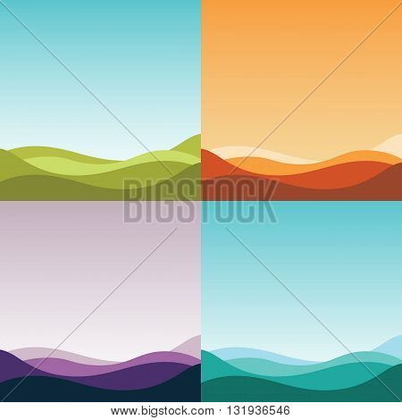 Four gradient abstract backgrounds set. Nature landscapes, forest, desert, dawn, sunrise, different game levels and stages, wallpapers concepts. Vector illustration