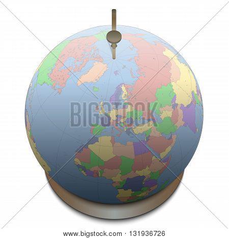 Illustration of a Globe on White Background