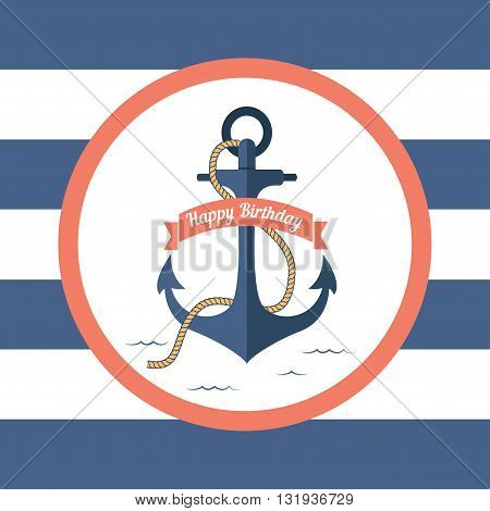 Marine card with an anchor and a signature on birthday