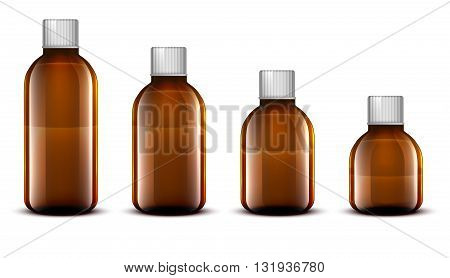 Vector Blank Glass Medical Bottle. Isolated on White Background