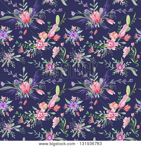 Seamless romantic country provence texture with wild flowers and herbs on dark blue indigo background