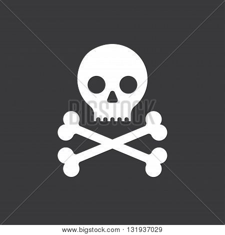 Simple cartoon skull and crossbones icon on a black background. Halloween design element danger sign or pirate flag.