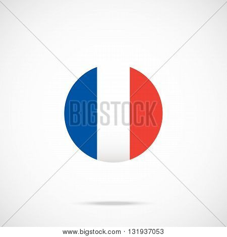 France flag round icon. France flag icon with accurate official color scheme. Premium quality french flag in circle. Vector icon isolated on gradient background