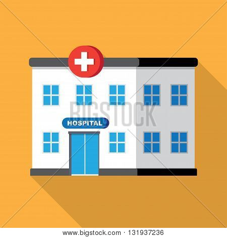 hospital building or clinic medical icon. Flat design vector with long shadow