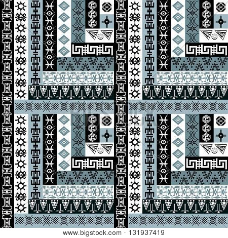 Black and white geometrical background with ethnic motifs