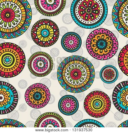 Vector seamless pattern with doodle circles. Hand drawn rounds with floral ornament.