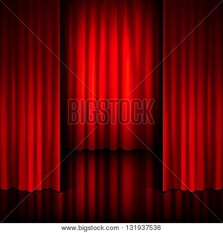 vector background with red velvet curtain, vector illustration.