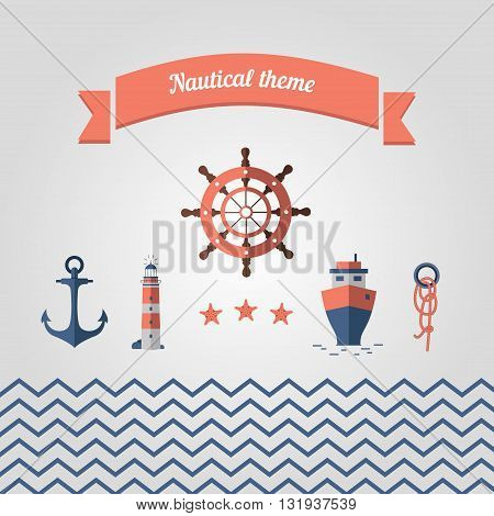 Set of sea icons. Nautical theme with a steering wheel lighthouse anchor boat rope stars and the sea.