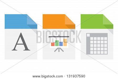File document icons. XLS DOC presentation file symbols. Vector