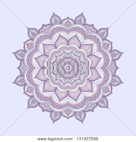 Vector hand drawn doodle mandala. Ethnic mandala with colorful ornament. Isolated. Light yellow pink blue and white colors.