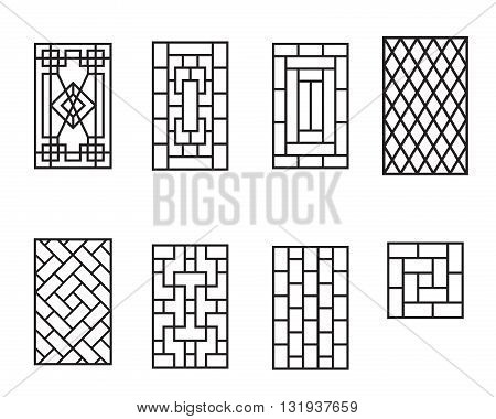 Set of Chinese pattern window frame vector