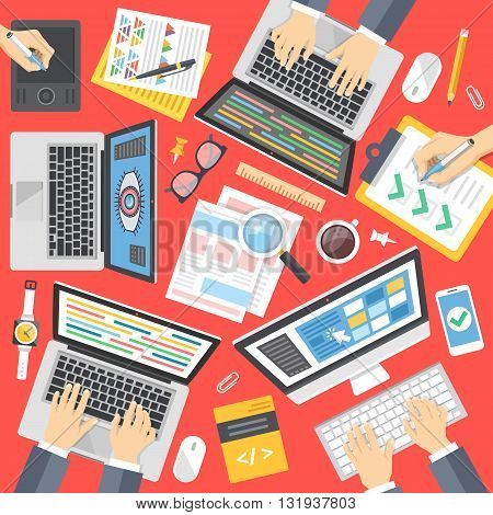 Programmers, web developers, designers at work. Working process, web development, programming, teamwork concept. Top view. Flat design for website, printed materials, infographics. Vector illustration