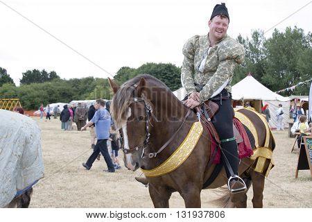 Tewkesbury, UK-July 17, 2015: Historical Reenactor on Horseback on 17 July 2015 at Tewkesbury Medieval Festival