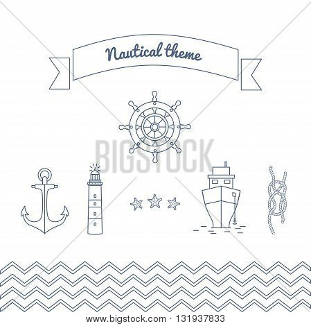 Graphics on the marine theme. Vector illustrations on sea theme. Linear icons with the ocean in the vector with steering lighthouse ship and a rope with a marine unit.