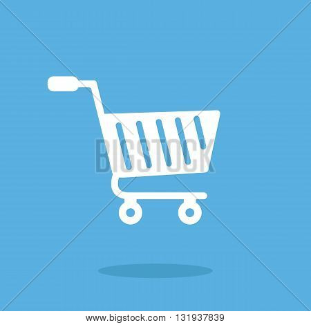Vector shopping cart icon. White shopping cart icon