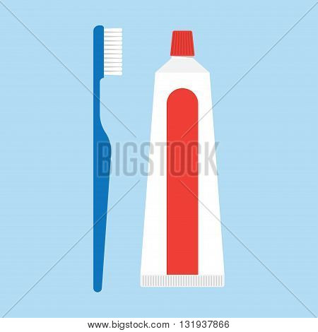 toothpaste and tooth brushes vector illustration. toothpaste and tooth brushes isolated on blue background. toothpaste and tooth brushes vector icon illustration.