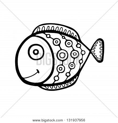 Vector hand drawn doodle fish with ornament. Isolated.