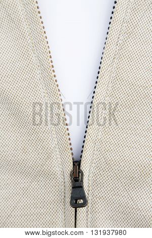 Half open metal zipper on the white background
