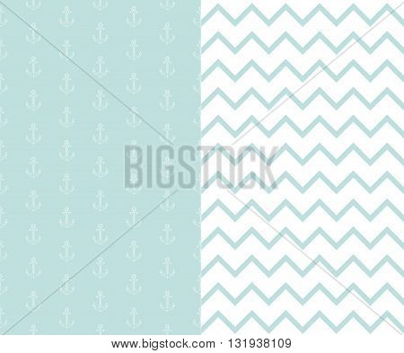 Set of patterns for the marine theme. Very gentle summer background with anchors in mint color.