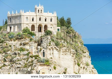 Church of Santa Maria dell'Isola located on the cliff near the town of Tropea, Italy
