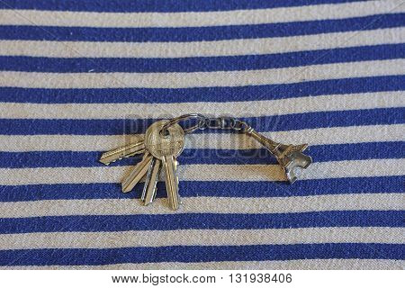 iron keys with trinket Eiffel Tower close up
