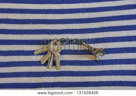 iron keys with trinket Eiffel Tower close up