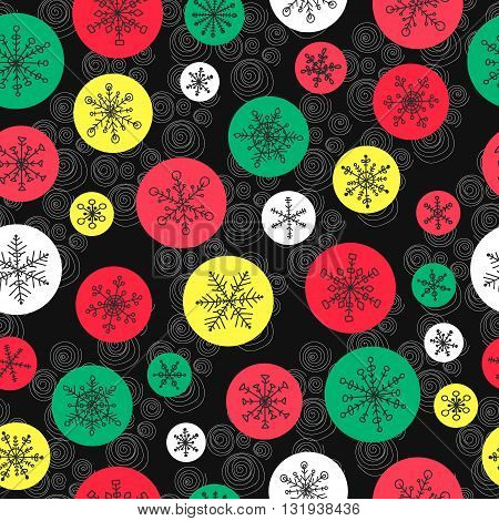 Seamless pattern with hand drawn doodle snowflake. Vector winter pattern with color circles. Red green yellow and white rounds on black background.