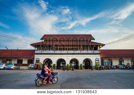 LAMPANG THAILAND - MAY 29 2016: LAMPANG THAILAND - MAY 292016: Front of Lampang train station Lampang Thailand.
