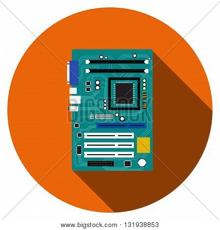 Motherboard and mainboard icon in flat style vector
