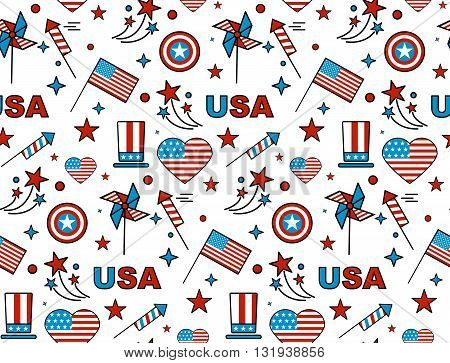Seamles pattern for US Independence Day 4th of July.