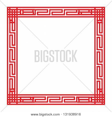 Classic Chinese red square frame vector ornament