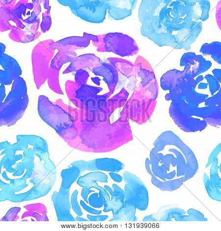 Seamless floral background. Isolated blue lilac flowers roses drawn watercolor on white background. Vector illustration.