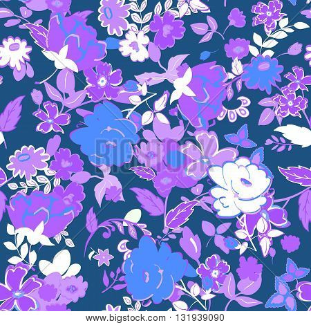 Seamless Floral background. Lilac and white isolated flowers and leaves on blue background. Vector illustration.