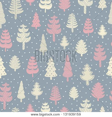Spruce forest seamless pattern. Hand drawn winter trees with ornament. Vector. Light yellow and red colors. On grey background.