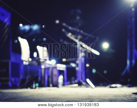 Music Festival Event Microphone on Concert Stage Live music Blurred Background