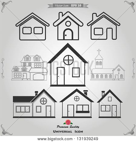 Houses icons set. Real estate. Vector icons