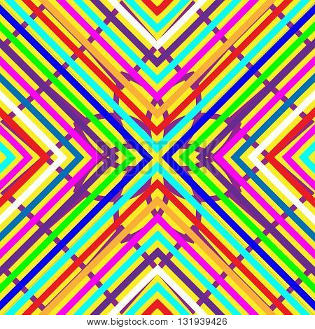 Latin American Mexican Spanish seamless pattern. Multicolored vector background of the strips, lozenges, squares, crosses.