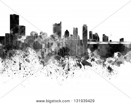 Austin skyline in artistic abstract black watercolor