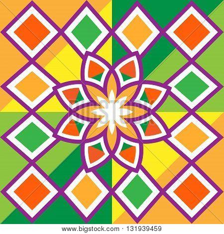 Beautiful flower and diamonds, pattern. Beautiful flower and diamonds, squares, frames. Beautiful colorful geometric seamless pattern. Vector illustration. The colors - red, orange, yellow, green, purple, white.