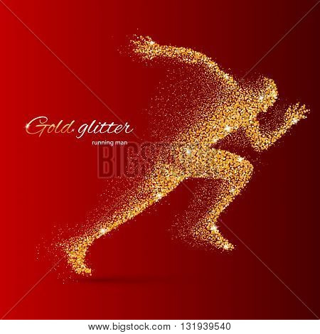 Running Man in the Form of Gold Particles on Red