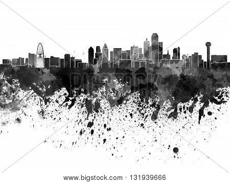 Dallas skyline in artistic abstract black watercolor