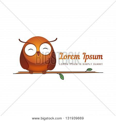 Vector illustrations with eagle owl. Bright logo with inscription and owl.