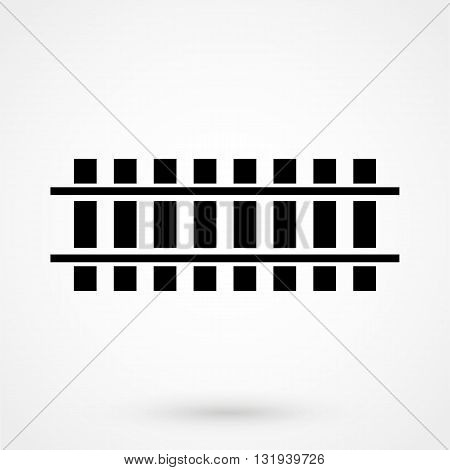 Rail Road Icon Black Vector On White Background