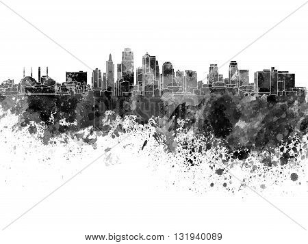 Kansas City skyline in artistic abstract black watercolor