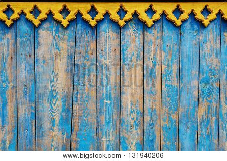 blue wooden planks, wooden background with yellow bordering