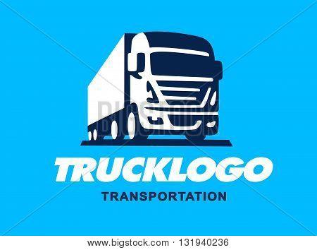 Truck illustration. Logo design on a blue background