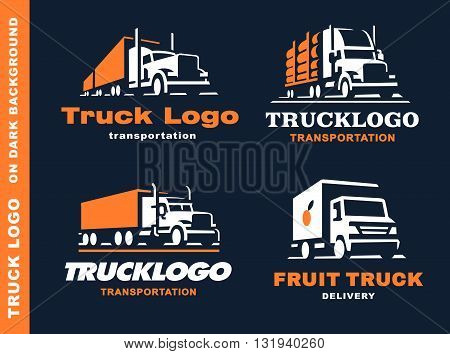 set of four logo with truck and trailer on dark background