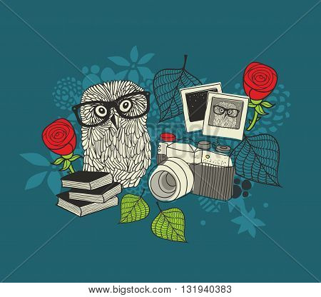 Cute owl and old photos. Romantic illustration in vector.