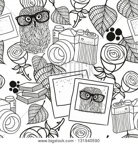 Black and white seamless pattern with vintage objects. Vector illustration of hipster style owl in glasses and old photo camera.