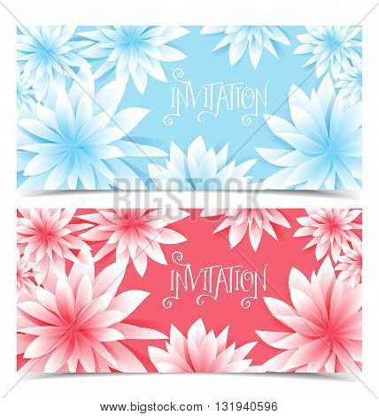 Two vector floral greeting card, flowers color design